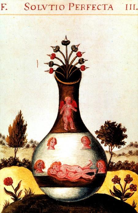 Alchemische Vereinigung.  Illustration im Buch Donam Dei - Ortus diviciarum sapiencie Dei.  17th Century.